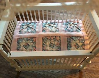 Miniature Dollhouse Pink Crib Quilt 1:12 Scale