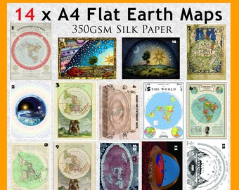 14 x Flat Earth Maps on 350gsm A4 thick glossy paper.