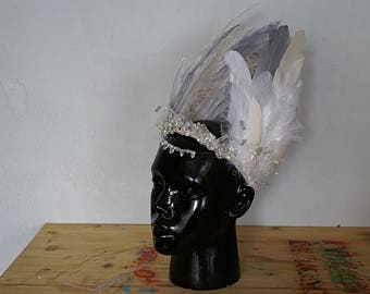 Burning Man Natural Feather Swarovski Crystal Native american Indian Headdress feather headband Festival Crown Headpiece