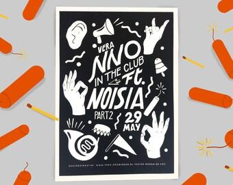 NNO In the Club Ft. Noisia Screenprinted / Silkscreened 3 Colour Gigposter For Vera Groningen Artprint Handpulled Print