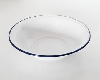 White enamel Bowl with liserai blue. Vintage