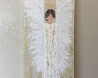 Abstract Angel Painting, angel art, guardian angel art, angel wings art, angel decor