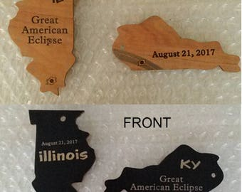 SOUVENIR Total Solar Eclipse Ornaments or Key Chain,  Laser Engraved States... All States