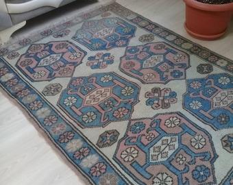 Oushak Rug ,Vintage Rug,Turkish Rug,Area Rug, Handmade Rugs, Home Lıvıng,3x4ft,fashion rug, Office Rug,Faded Blue and Red Colors,
