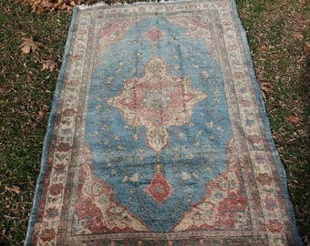 Oushak Rug Blue,Vintage Oushak Rug,Turkish Rug,3'3''x5'6''feet, Vintage Oushak Rug,Area Rug,Fashion Rug,Turkish Carpet,Home Living,