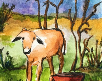 Little Cow/Watercolor and Ink/Farm animal/Cow watercolor/Cow/Pocket card/Trading card/miniature painting