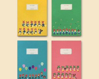 Bear Basic Notebook / A5 Size Simple Notebook / 4type [yellow, blue, pink, green] / 14-n / 1760653