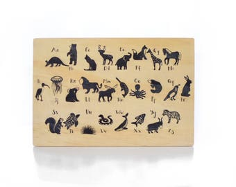 Original Hand Illustrated Wooden Alphabet Animal Playboard Block Game