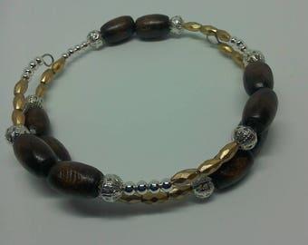 Wooden bead memory wire bracelet