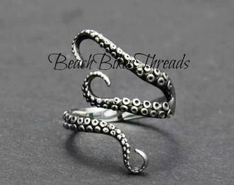 Silver STAINLESS STEEL Ocotopus Metal Adjustable Beach Sea Life RING