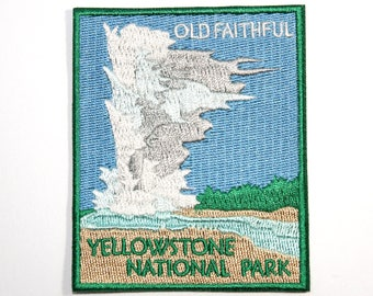 Official Yellowstone National Park Souvenir Patch Old Faithful Geyser Wyoming FREE SHIPPING Scrapbooking