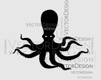 Octopus Squid Nautical Sea Animal Graphics SVG Dxf EPS Png Cdr Ai Pdf Vector Art Clipart instant download Digital Cut Print File shirt