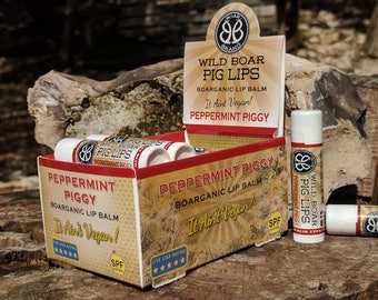 Wild Boar Pig Lips (3-pack)  Boarganic Lip Balm, Peppermint Piggy - THREE PACK