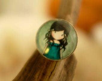 ring cabochon girl dress blue