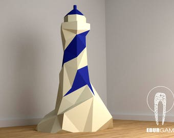 Pdf printable etsy lighthouse papercraft art home decor 3d lowpoly lighthouse model diy paper art pronofoot35fo Images