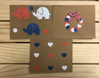 3 pack of USA Patriotic Cards/4th of July/Elephants/Hearts/Wreath/Glitter