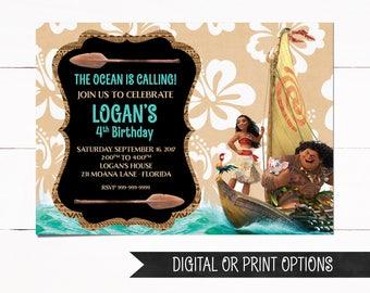 Maui Invitation, Maui Birthday Invitations, Moana Invitations