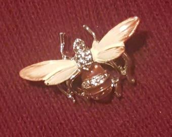 Vintage Gold & Enamel Bee Brooch