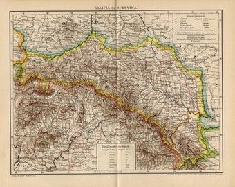 Antique map of Galicia (Eastern Europe) and Bukovina from 1894