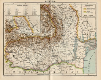 Antique map of Romania from 1897