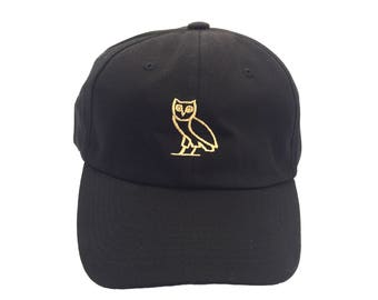 ovo drake hat cap dad hat black strapback adjustable owl classic one size fits all