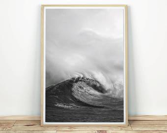 Big Wave - Printable Art, Ocean Wall Art, Wave Art Print, Ocean Print, Black And White Art, Large Print Art, Waves Ocean Art, Wave Decor
