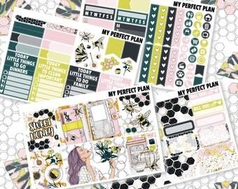 Sweet honey / Hey Honey / Honey honey / Busy bee weekly / Hello spring sticker kit / Mini weekly kit / Planner stickers / Weekly kit