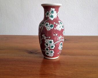 Small enamel old pink - cherry - vintage vase