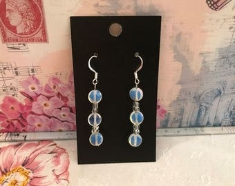 Irridescent Aqua/Opal  Earrings