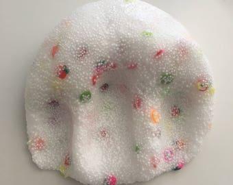 Fruit Salad Floam / clear slime / stretchy / 4 oz 8 oz / custom made / Fimo slices / most popular / crunchy / micro foam balls