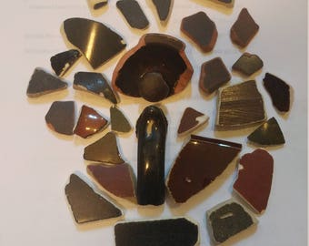 AUTHENTIC Brown and Black Sea Pottery Genuine Surf Tumbled