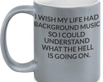11oz Metallic Double Sided Funny Coffee Cup Mug Music