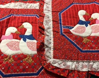 Throw Pillow Sham (2)  Red with 2 Ducks