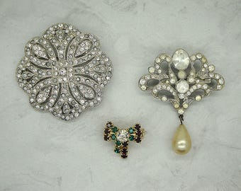 Vintage Rhinestones and Faux Pearl Jewelry Craft Lot, Vintage Rhinestone Repair Lot, Vintage Craft Lot, Vintage Rhinestone Brooch Lot