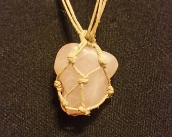 Rose Quartz necklace - rose quartz pendant - rose quartz crystal necklace