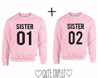 SISTERS Couple Sweater Rosa  - sweater,hoodie,pullover,t-shirt,tee,top,couple,Pärchen,best friends,gift,