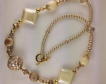 Cream Pearls & Glass Necklace