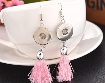 """Pair of earrings fringes for snap button """"Rose"""""""