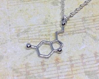 Serotonin Charm Necklace, Molecule Necklace, Happy Hormone Necklace, Science Gift, Charm Jewellery, Molecule Necklace, Science Jewellery