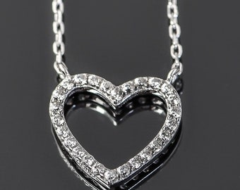 Sterling Silver Open Heart Pendant with Pavé Set Cubic Zirconia!