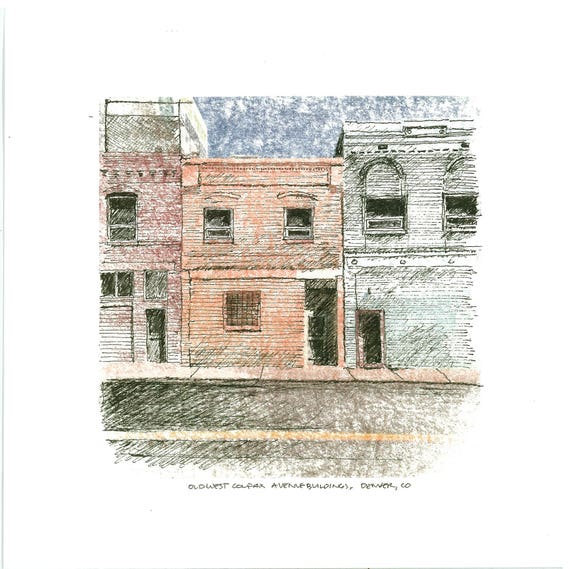 Old West Colfax Buildings Denver CO PRINT