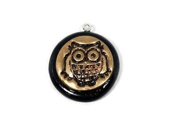 Golden Owl Pendant - Round Owl Pendant - Spirit Animal - Symbol of Wisdom - Wise Owl - Gold - Black - Athena - Graduation Gift - Totem