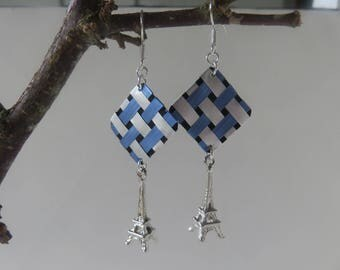 """Dalma"" checkered light blue and Silver earrings"