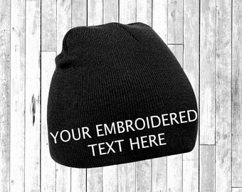 Personalised Embroidered Beanie Hat Pullover Custom Printed Wooley Hat Unisex Secret Santa Gift Pintrest Tumblr