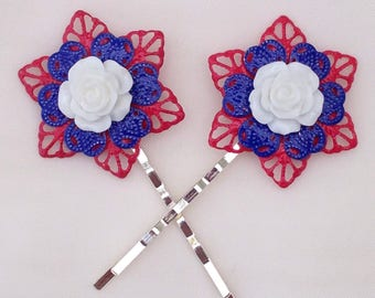 Patriotic Filigree Flower Hair Grips, Red White and Blue Bobby Pins, Hand Painted Hair Accessories,