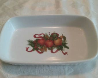 Vintage Holiday Cassarole/Baking Dish/Ceramic Oven ware/Christmas Dishes/Rectangle Pan/Brownie Bake/