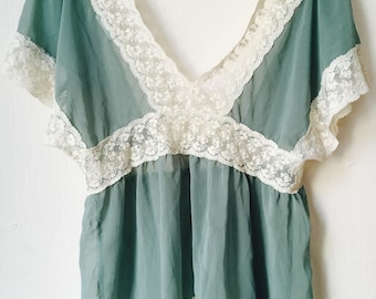 Sheer light green top with lace