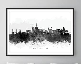 Aberdeen Skyline, Aberdeen Scotland Cityscape Art Print, Wall Art, Watercolor, Watercolour Art Decor [SWABZ05]