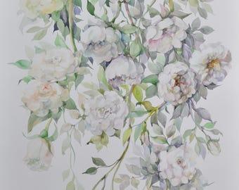 Original watercolor painting, watercolor flowers,White Rose, floral still life, botanical art, nature art, wall decor original artwork