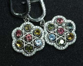 Sterling Silver Earrings with Multi Color Tourmalines and zircons. A very elegant design. 925 Purity Silver. Very fine Work. Perfect Gift.